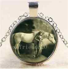 A47Woman with white horse Cabochon Glass Tibet Silver Chain Pendant Necklace#267