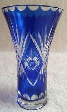 Cobalt Blue Cut to Clear Glass VASE