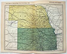 Original 1904 Dated Railroad Map of Nebraska and Kansas