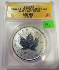 "2015 Canada Silver Maple ""Ram Privy"" - ANACS MS69 Lot 191"