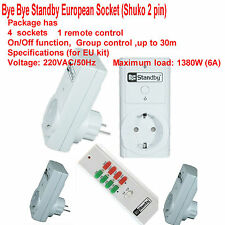 4 pack Bye Bye Standby Remote control European Socket (Shuko 2 pin) + remote