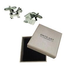 Mens Dog & Kennel Silver Cufflinks & Gift Box By Onyx Art