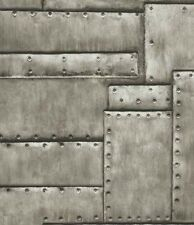 Wallpaper Cool Industrial Looking Faux Sheet Metal with Screws, Looks Real Up!