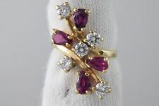 VTG Women's Luxury 1.0 ct Natural Ruby & Diamond Cocktail Ring in 14k Solid Gold