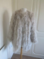 VGC DESIGNER 1975 DIMENSON  GREY/BEIGE REAL FEATHER COAT SIZE SMALL RRP 275.00