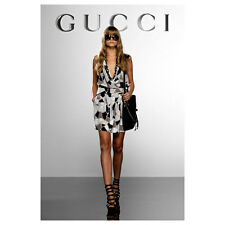 Gucci runway ice print halter silk signed dress 48 NWT