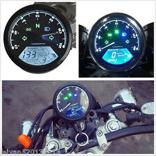 12000RPM LCD Digital Speedometer Odometer Tachometer 1-4 Cylinders Motorcycle