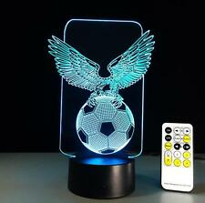 Eagle Footbal 3D LED Night light USB Touch Table Desk Lamp Remote Control B357-1