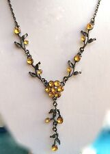 Antique Silver Plated Flower Necklace Earrings Yellow Crystal 17-19 inches USA