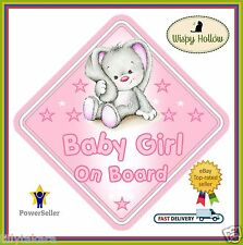 "BABY GIRL NON PERSONALISED CAR SIGN ""CUTE LITTLE RABBIT"" CHILD BABY ON BOARD"