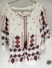 Fig and Flower Peasant Top Blouse Tribal Print tunic Shirt Boho  Size XL