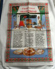 VINTAGE LINEN KITCHEN TOWEL TRADITIONAL IRISH BREAD RECIPES SODA FARLS BANNOCK