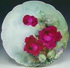 BEAUTIFUL LIMOGES HAND PAINTED ROSES CABINET PLATE