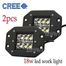 Pair 18W LED Work Light Bar Spot Beam Cube Flush Mount Bumper 4WD TRUCK SUV FOG