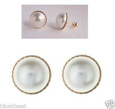 Classic 9ct Gold Large 12mm Round D/C Pearl Button Studs Earrings X'Mas GIFT BOX