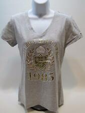 NWT Womens TOMMY HILFIGER S/S V-Neck Embellished T-Shirt Gray White Gold Medium
