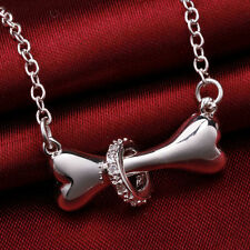 925 sterling Silver plated women Necklace Jewelry bone Fashion crystal Cutecharm