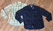 Lot 2 Western Pearl Snap Mens XL Shirts Lucky Brand Paisley & Plaid Long Sleeve