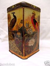 1910s Art Nouveau Exotic Birds Of Paradise Candy Biscuit tin