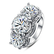 Large Round 3 Stone Engagement Style Promise Ring