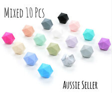 MIXED 10x 17mm Icosahedron silicone beads BPA free baby teething necklace sample