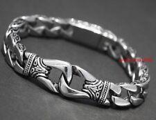 Urban Jewelry Stainless Steel Men's Bracelet Silver Black 8.66 inch