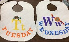 BABY BIBS QUILTED & REVERSIBLE FOR EVERYDAY OF THE WEEK     7 BIBS IN A SET
