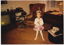Vintage 80s PHOTO Little Girl In Fairy Costume w/ Wand