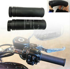 "1""25mm Black Moto Rubber Hand Grips HandleBar For Harley twin cable throttle"