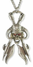 Skull & Helmet on Executioner's Axes with Red Crystals Pewter Necklace NK-371