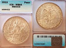Mexico 1913 Peso, Rare High Grade, Gem BU, ICG 64, Sharp Detail, Luster Fields