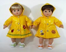 BITTY BABY TWINS FOR AMERICAN GIRL BOY GIRL RAINCOATS SET W/ SNEAKERS CLOTHES
