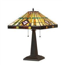 """CH35549BM16-TL2 Martin Mission Tiffany Style Stained Glass Table Lamp 16"""" Shade"""