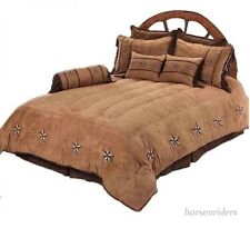 Rustic Complete Bedroom Bedding Set - King Size - Fawn Tan and Brown - 7 Pieces