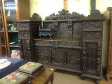 Very fine 17th century flemish carved solid oak gothic sideboard dressercabinet1