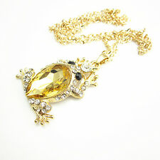 Gold Plated Metal Yellow Crystal Gold Frog Pendant Chain Sweater Necklace