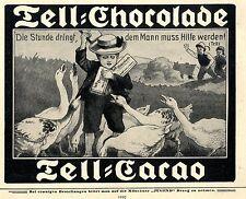 Künstlerwerbung für Tell-Chocolade & Cacao Ad 1910