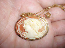 Beautiful Antique 14k gold cameo brooch pendant  necklace