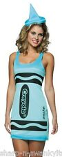 Ladies Sexy Sky Blue Crayola Crayon Hen Do Charity Fancy Dress Costume Outfit