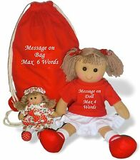 Personalised Rag Doll Christening, Birthday, Flower Girl + Bag & FREE Mini Dolly