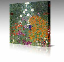 "Gustav Klimt Farm Garden Flowers 20x20"" Framed Canvas Art Picture Print Floral"