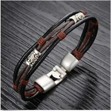 Braided Bangle Cuff Men's Bracelet Wristband Stainless Steel  Genuine Leather