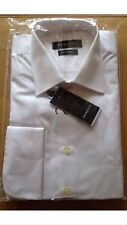 "MENS WHITE LUXURY SHIRT TAPERED DOUBLE CUFF 16"" COLLAR BNWT"
