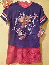 ULTIMATE SPIDER-MAN Marvel Shirt & Short Set Kids Size 5/6T Blue/Red *NEW*