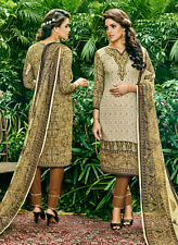 Designer Glace Cotton Salwar Kameez with Embroider Work Party Wear Material
