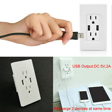 Adapter Plug Socket Dock Station 2 Port USB Wall Charger Outlet Plate