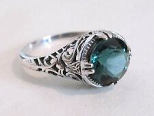 2 Carat Emerald Filigree Sterling Silver Engagement Ring Vintage Art Deco Sz 8