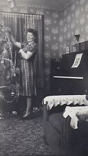 Old Antique Vintage Photograph Woman Decorating Christmas Tree Piano Retro Room