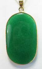Natural green jade large oval shape pendant (without chain)