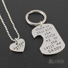 Silver 2 Piece Keyring Necklace Set Daddy Girl Stole My Heart Men Father Gift K2